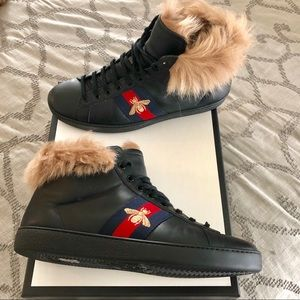 Gucci Ace Fur High Top Sneakers in Black